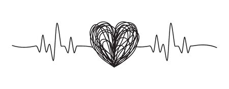Tangled grungy heartbeat scribble hand drawn with thin line, divider shape. Isolated on white background. Vector illustration