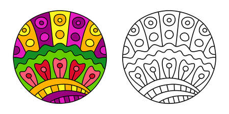 Round coloring ornament filled with colorful hand drawn doodles