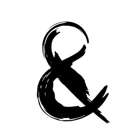 Hand painted ampersand symbol isolated on white background 矢量图像