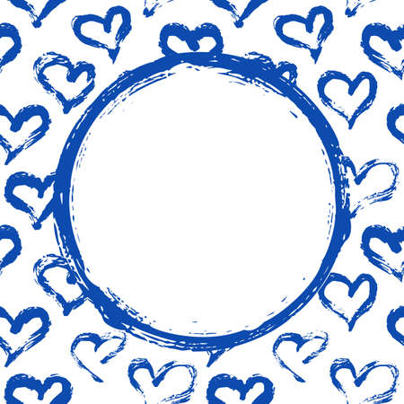 Hearts card template with round place for your text