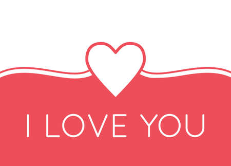I LOVE YOU greeting card with heart in pink and white