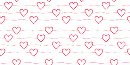 Seamless pattern with scribble hearts and stripes 矢量图像