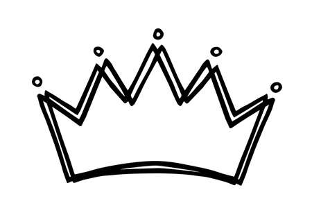 Hand drawn stylized crown design hand painted with ink pen, isolated on white background. Vector illustration