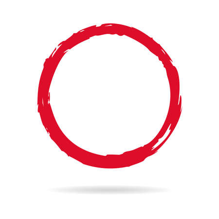 Hand painted grunge circle. Red round blob hand drawn with ink brush. Vector illustration
