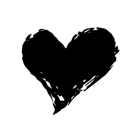 Grunge heart Valentine's Day, symbol hand painted with brush and ink, isolated on white background. Vector illustration.