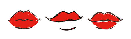 Red lips banner hand drawn with ink paint brush, isolated on white background. Vector illustration