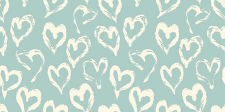 Seamless heart pattern hand painted with ink brush. Vintage style tileable vector illustration 矢量图像