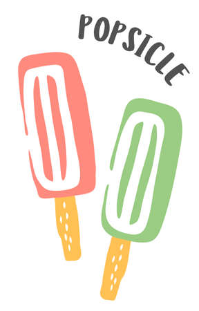 Ice lolly drawing hand painted with ink brush