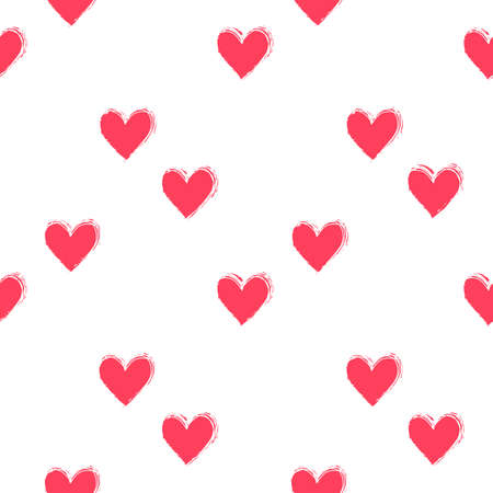 Seamless heart pattern hand painted with ink brush