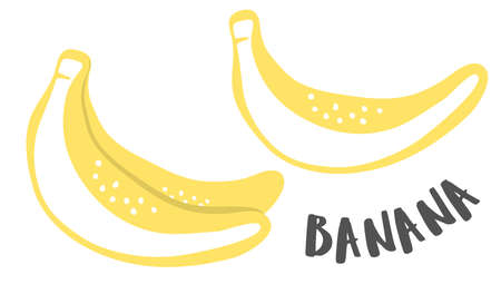 Banana hand painted with ink brush isolated on white background