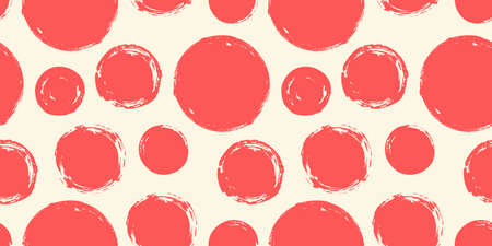 Seamless pattern with grunge circles hand painted with ink