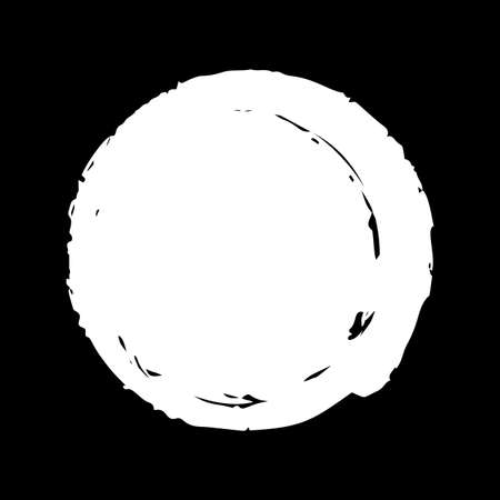 Hand painted white ink circle on black background