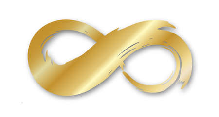 Golden infinity symbol hand painted with ink brush