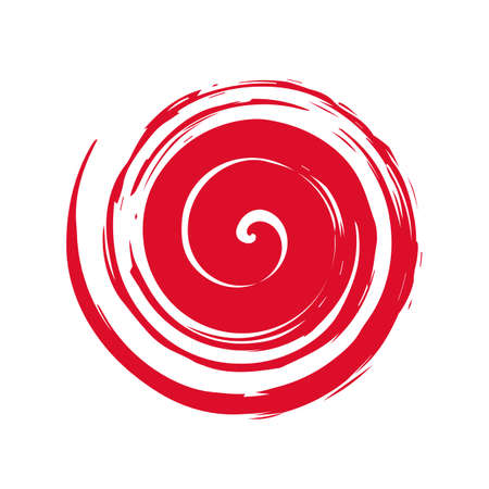 Red hand painted swirl symbol isolated on white background Illustration