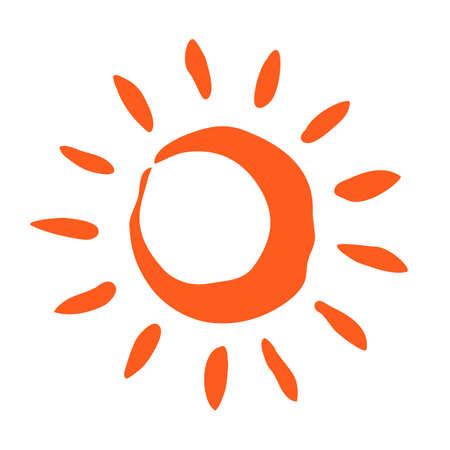 Happy summer sun symbol hand painted with paint brush Illustration
