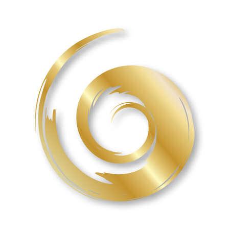 Golden hand painted swirl symbol isolated on white background