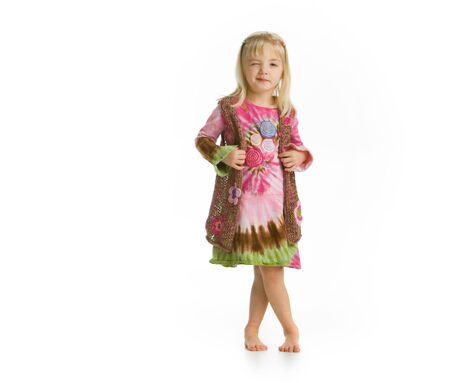 Little hippy girl winking-full lenght