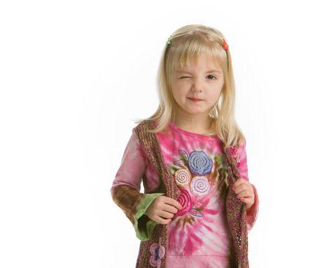 Little hippy girl winking-closeup 写真素材