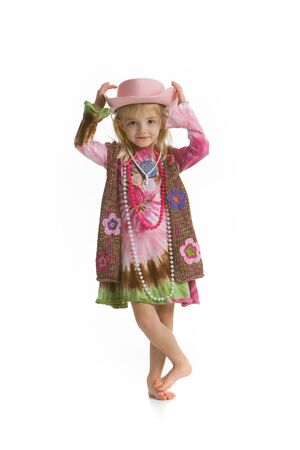 Little cowgirl with pink hat Stock Photo - 4336767