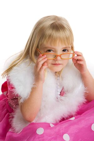 Little girl with pink glasses