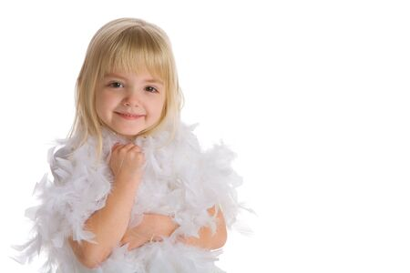 Little girl wearing a white feather boa 写真素材
