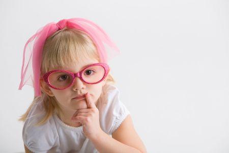 ピンクのメガネを持つ少女 写真素材 - 4336793