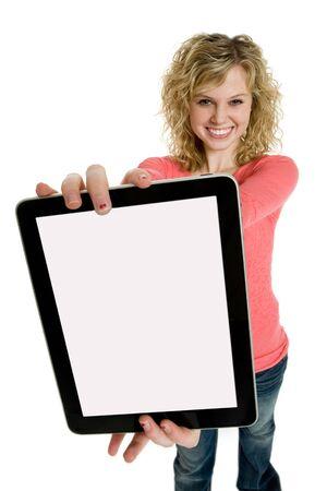 電子のタブレットを保持している魅力的な十代の少女 写真素材 - 8606246