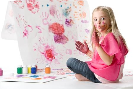 かわいい小さな女の子の指絵 写真素材 - 8606313