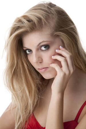french manicure sexy woman: Intense close-up of pretty teenage girl with big eyes and beautiful hair in a red dress