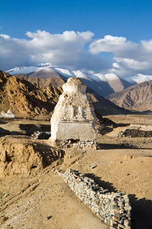 stupas: Buddhist stupas near the Shey monastery against the Himalayas mountains