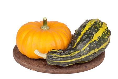 Decorative pumpkins  on white background.