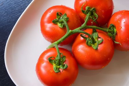 Fresh tomatoes on the white plate Stock Photo - 5225629