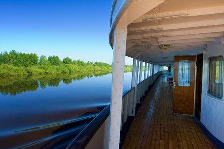 View of the river from the deck of a motor ship Stock Photo