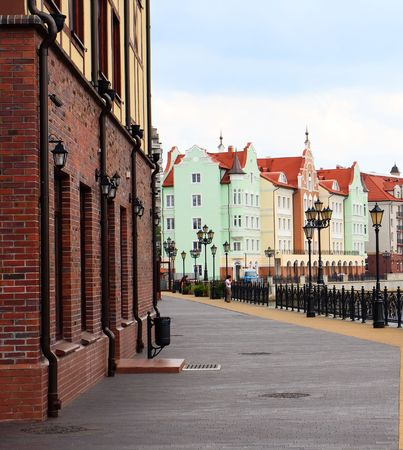 View of the street of an old city of Kenigsberg (Kaliningrad) in Russia Stock Photo