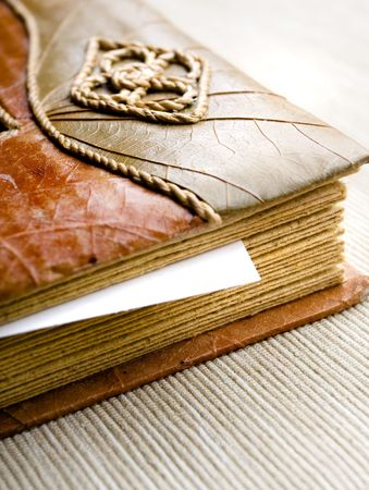 Closeup of handmade photograph album