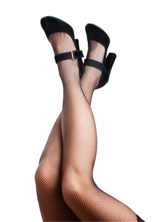 Woman's legs in high heels and mesh stockings isolated on the white background
