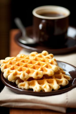 Breakfast with coffee and homemade waffles