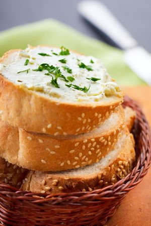 Sandwich with fresh soft cheese and herbs,shallow focus Stock Photo - 7806007