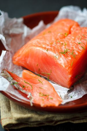 Fresh salmon fillet with dill,shallow focus Stock Photo