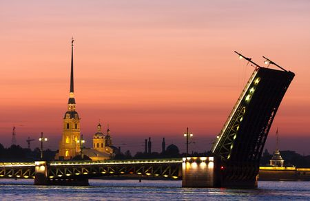 Classic view of Saint-Petersburg,Russia in the white night