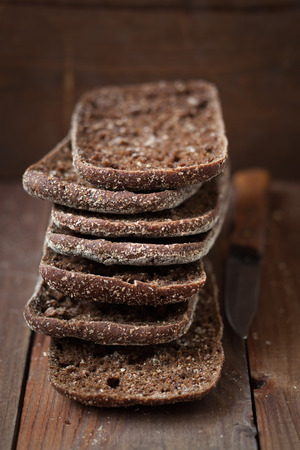 Stack of finnish rye bread,shallow depth of field Stock Photo