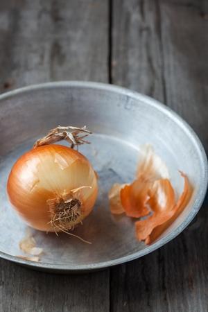 Onion on the metallic plate,shallow depth of field Stock Photo