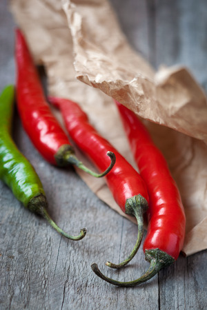 Red and green fresh chili pepper,shallow depth of field Stock Photo