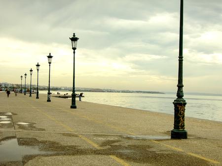 lighting fixtures: Coastline with Lighting Fixtures in Thessaloniki City, Greece