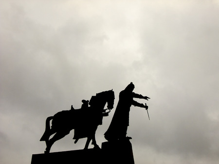 duke: Grand Duke of Grand Duchy of Lithuania with his Horse looking to Lithuanias Capital City Vilnius