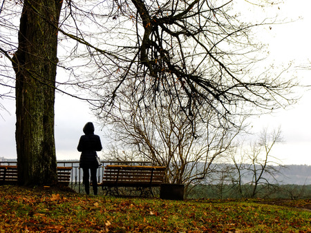 next horizon: Girl standing next to tree and looking to the Horizon of Vilnius CIty in Lithuania Stock Photo