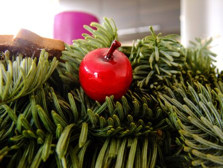 gelatina: Red small Cherry in Gelatin is glued to a Christmas Wreath of Fir