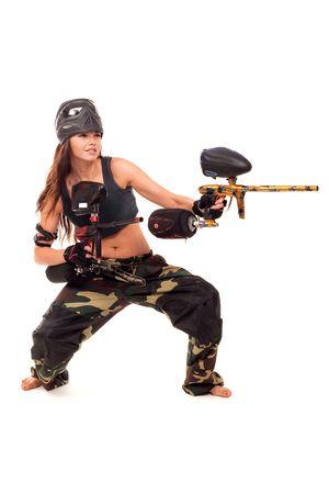 paintball: Sexy young girl posing like playing paintball