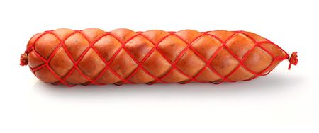 Sausage braided with red strand Stock Photo
