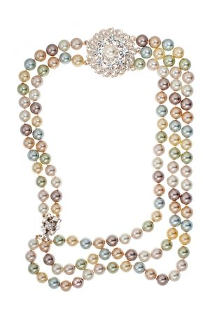 Frame of necklace with a brooch on white background Stock Photo - 7084223